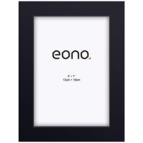Eono by Amazon - Marco de Fotos de Madera Maciza y Cristal de Alta Definición para Pared o Sobremesa 13x18 cm Negro