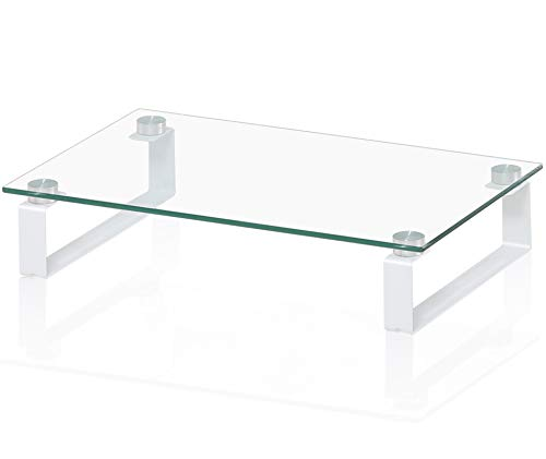 FITUEYES Monitor Stand Glass Transparent with U Feet PC Laptop Computer Screen Riser L38.5xW24xH7.9cm DT103804GC