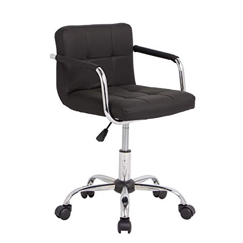 Neo Silla de escritorio acolchada de piel sintética con patas cromadas, giratorias, ajustable, color negro
