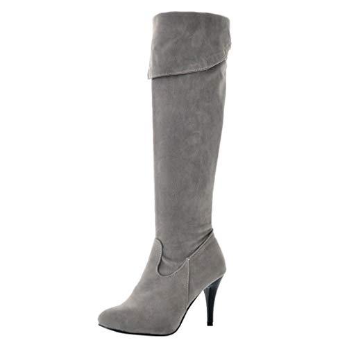 ZODOF Mujer Invierno Moda Suede De La Rodilla Botas Tacón Alto Puntera Puntiagudo Zapatos Botas(gris,40 EU)