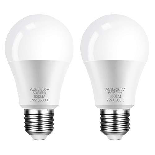 E27 LED Lampe, FAUETI Led Leuchtmittel 7W (ersetzt 40W), Warmweiß 3000K, AC85-265V, 630LM, 220°Glühlampe Abstrahlwinkel, 2er-Pack [Energieklasse A+]