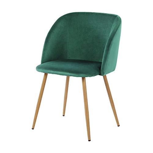 DORAFAIR Esszimmerstühle Vintager Retro Stuhl mit hölzernen Metallbein, Polstersessel Lounge Sessel Clubsessel, Dunkelgrün