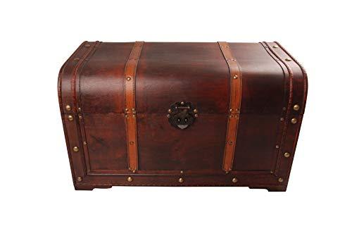 MYBOXES - Baule coloniale con Cinghie in Pelle, 60 x 35 x 35 cm