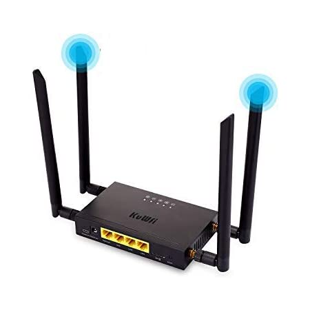 KuWFi 300Mbps 4G Tarjeta SIM WiFi enrutador CPE Industrial, 4G LTE Extensor de enrutador de Antena Externa inalámbrica Compatible con 32 usuarios