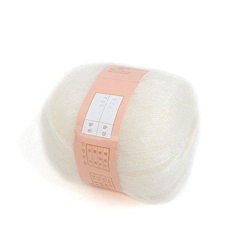 Madeja tia-ve 1 pieza, lana cachemira suave y Natural de Angola Mohair, para tejerColor blanco