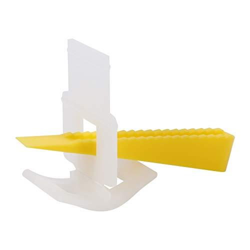 Tegelcompensatiesysteem, 500 clips + 200 wiggen vloer muur tegelcompensatie afstandhouders gereedschappen voor vlakcompensatie