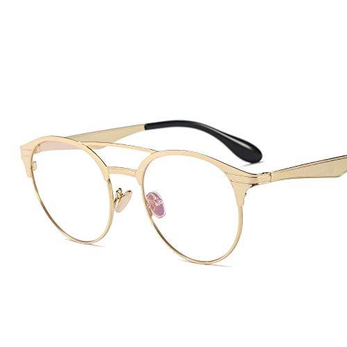 ZHAOXQ Optische Brillen, reduziert Überanstrengung der Augen Klare Sichtscheibe, Abendkleid-Partei ultraleichte Damen Mode Retro-Runde Glas-Rahmen Leicht (Color : Gold)