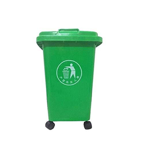 JUIO Ruedas bote de basura, al aire libre plástico con tapa Cubo de la basura, for el parque, el hotel, calle, hogar, oficina, centro comercial, Cocina, Fábrica, Verde, 30L, 50L (Size : 50L)