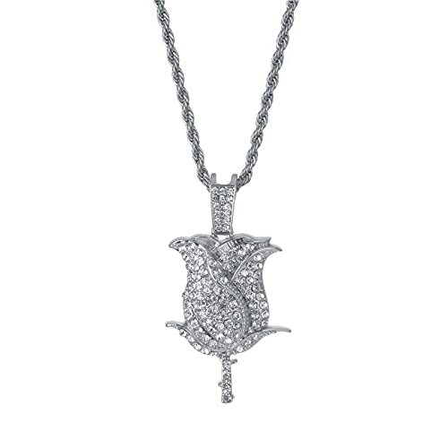 Glossy Crystal Mountain Rose Flakes Necklace Gold / Silver Color Tennis Chain Necklace Men Women Flower Hiphop Jewelry Gift-Silver color_5mm Cuban chain_CHINA_24inch