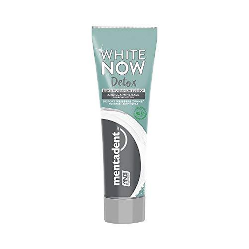 Mentadent Dentifricio Sbiancante White Now Detox con Argilla Minerale e Carbone Attivo, 75 ml per Denti Più Bianchi