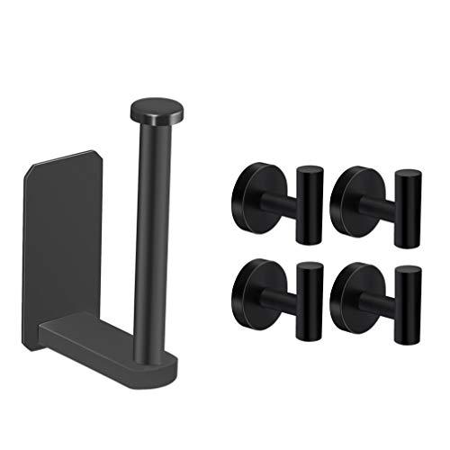 VAEHOLD Toilet Paper Holder and 4 Pack Towel Hooks - Black