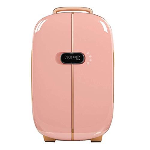 DFJU Refrigerador para automóvil, Refrigerador para Almacenamiento de cosméticos, Puerta Doble, Mini portátil, Multiuso, Se Utiliza para refrigerar cosméticos o Alimentos, Rojo
