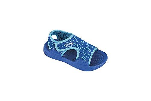 fashy® MOSHIRA Kleinkinder-Sandale Badeschuhe Strandschuhe mit doppeltem Klettverschluß in 2 Farben erhältlich - (Made in Germany) Blau/Türkis 25/26 EU
