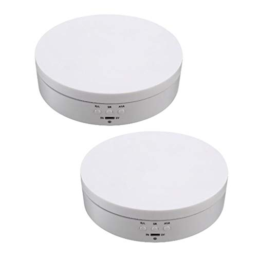 F Fityle 2er Pack Elektrischer Drehteller 360 ° drehbar Drehdisplay Präsentierteller Drehplattform, Weiß