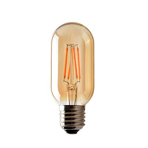 Tree-es-Life Bombilla LED de luz LED T45 E27 de 4W Retro Cubierta ámbar Transparente 220V Filamento LED Lámpara de Vidrio Vintage Antigua Tunable Marrón Claro