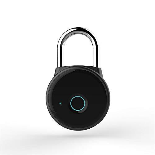 Jianghuayunchuanri Candado Inteligente Bolsa de Viaje de candado de Huellas Digitales Inteligentes Bolso de Viaje de Bloqueo Bluetooth Ideal para Interior-Exterior (Color : Black, Size : 57mmx91mm)