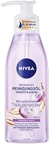 NIVEA Beruhigendes Reinigungsöl (150 ml), sanfte Gesichtsreinigung für sensible Haut, mildes Reinigungsöl mit Traubenkern-Öl für Gesicht & Augen