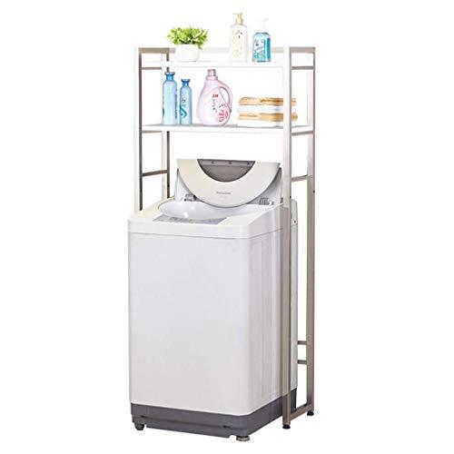 JIAJBG Estantería de acero inoxidable para cuarto de baño Clamshell o lavadora, con pie de ajuste, 2 capas