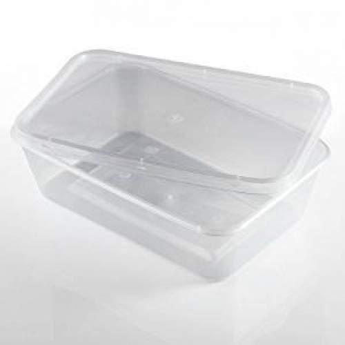wecansourceitltd® - Lot de 50 récipients rectangulaires en plastique transparent pour micro-ondes et congélation - 500 ml