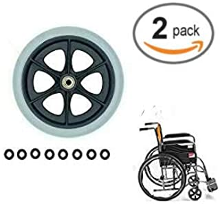 Universal Wheel Replacement Parts for Wheelchairs Walker Wheels,1 Pair 8 Inch x 1 Inch