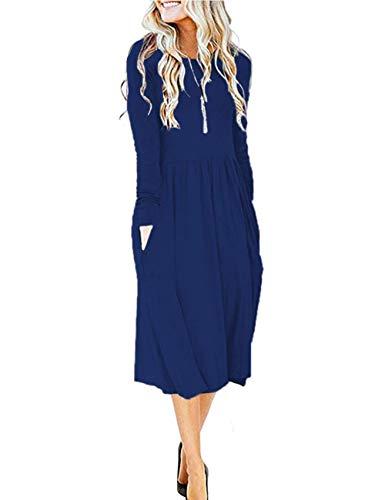 Blue long sleeve  midi dress with side pockets