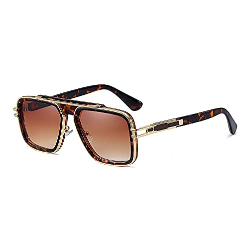 SHEEN KELLY Gafas de sol cuadradas retro de gran tamaño para hombres y mujeres Gafas de metal vintage