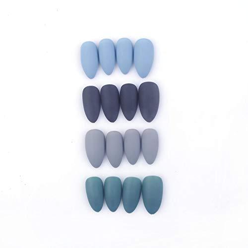 96Pcs Colorful Acrylic Nails Full Cover Medium Stiletto Matte False Gel Nails Art Tips Sets