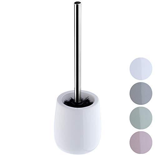KADAX WC-Bürste mit Behälter aus Keramik, Toilettenbürste mit langem Stahlgriff, Klobürste für Bad, Bürstengarnitur, WC-Garnitur für eine saubere Toilette, stehend (weiß)