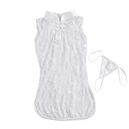 BURFLY Frauen Sexy Dessous Spitze Nachtwäsche Ärmel Unterwäsche Robe Pyjama Set S-XL Underware Set Aus Spitze Mode Casual Sleeveless Shirt&Hosen