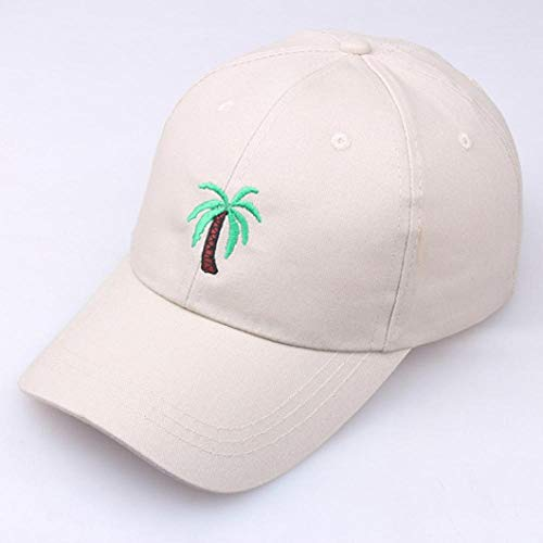 Cap Casquette de Baseball Snapback Casual Mens Dad Hat Coconut Tree Embroidery Baseball Cap Women Summer Travel Beach Sun Caps Hip Hop Gorra Snapback Beige