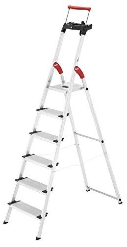 Hailo XXR ComfortLine Alu Stehleiter (6 XXL-Stufen, EasyClix, Ablageschale, ausziehbarer Haltebügel, bis 150 kg) 8030-607