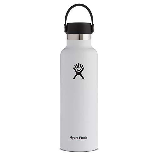 Hydro Flask Water Bottle - Standard Mouth Flex Lid - 21 oz, White