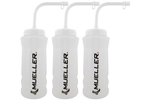 Mueller Quart Bottle w/ Straw (New Design), Natural Color w/ Black Letters (3-Pack)