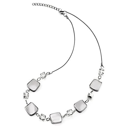 COOLSTEELANDBEYOND Collar de cadena gris negro collar cubo cuentas de cristal gris trapecio encantos cadena colgante, vestido