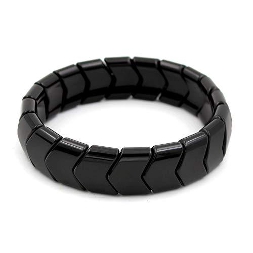 POWER IONICS Pulsera de turmalina negra con cuentas de iones para la salud, elástica, color negro