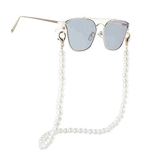 LERDBT Brillen-Kette Halskette Grüne Sonnenbrillen-Ketten-Frauen Große nachgemachte Perlen-Schmuck Brille Kette Für Sonnenbrillen Handschlaufenöse (Color : White)