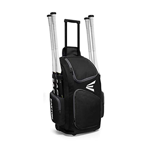 EASTON TRAVELER Bat & Equipment Wheeled Bag | Baseball Softball | 2020 | Black | 4 Bat Sleeves | Vented Gear & Shoe Compartments | 2 Side Zippered Pockets | Telescope Handle | Stands Up | Fence Hook