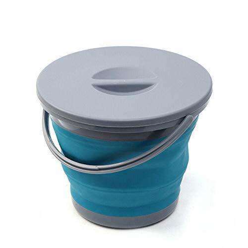 Alberta Angeln Eimer Faltbare zusammenklappbares Fass 5L Fischen Camping Picknick-Silikon-Waschbecken Pot Reise Eimer Taschen New-Hellgrau (Color : Blue)