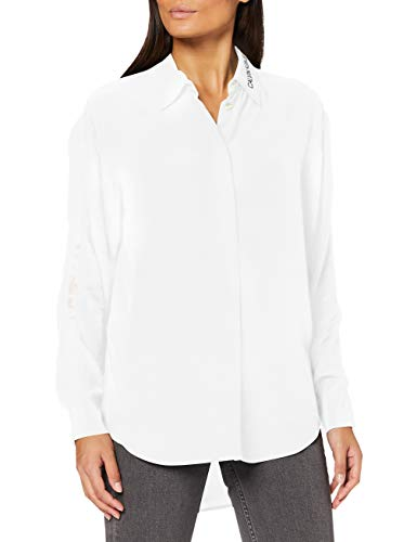 Calvin Klein Jeans Damen Drapey Shirt with Mesh Tape Hemd, White, XL