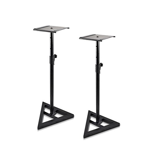 """Pyle Sonos Speaker Stand Pair of Sound Play 1 and 3 Holder - Telescoping Height Adjustable from 26"""" - 52"""" Inch High Heavy Duty Three-point Triangle Base w/ Floor Spikes and 9"""" Square Platform"""
