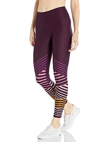 Calvin Klein Damen Logo Kenya Stripe Print High Waist Tight Leggings, Burgunderrot, Groß