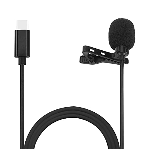 MMAK Dynamic Collar Mic Pro Lavalier Clip-On Microphone for YouTube Recording, Bloggers, Online Tutors, Journalists, Podcasters, Mini Mic for Recording, Mobiles Phones, Black (Type-C Connector)