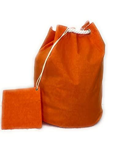 Calieri mood & style borsa mare, sacca palestra, Borsa a Sacco impermeabile,Zaino ,Sacca in Tela impermeabile con Chiusura a Cordoncino e Tasca per Donna e Uomo (arancione)