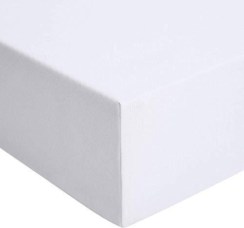 AmazonBasics - Spannbetttuch, Jersey, Weiß - 160 x 200 cm