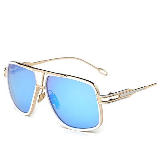 Hengtaichang Sunglasses New Style NEW Sunglasses Men Brand Designer Sun Glasses Driving Oculos De Sol Masculino Grandmaster Square Sunglass 7-Gold-Blue