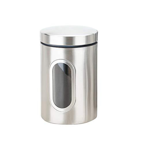 BESTONZON Pot hermétique en acier inoxydable café bean thé sucre récipient de conservation fenêtre