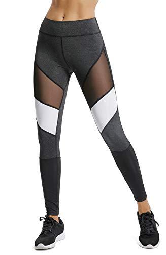 FITTOO Mallas Leggings Mujer Yoga de Alta Cintura Elásticos y Transpirables para Yoga Running Fitness C-Negro+Blanco Large
