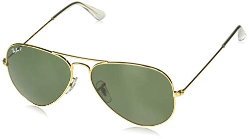 Ray-Ban Shooter Rb3138 C62 - Gafas de sol unisex para adulto, naranja, tamaño mediano, Oro brillante/verde polarizado., 58 mm
