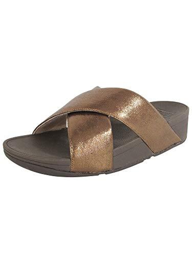 FitFlop Womens Lulu Cross Glitz Slide Sandal Shoes, Bronze, US 10