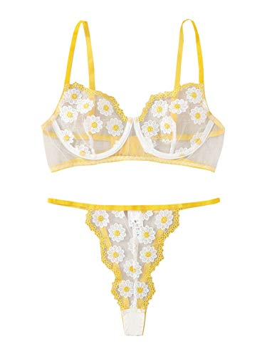 SOLY HUX Women's Embroidered Floral Sheer Mesh Underwire Bra and Panty Lingerie Set Yellow M